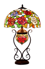 Limited Edition@Rose Style Tiffany Reproduction Double Lights Traditional Table Lamp
