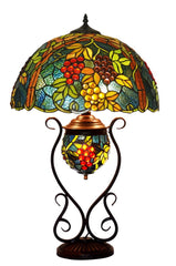 Limited Edition@Huge Tiffany Reproduction Double Lights Traditional Grape Table Lamp