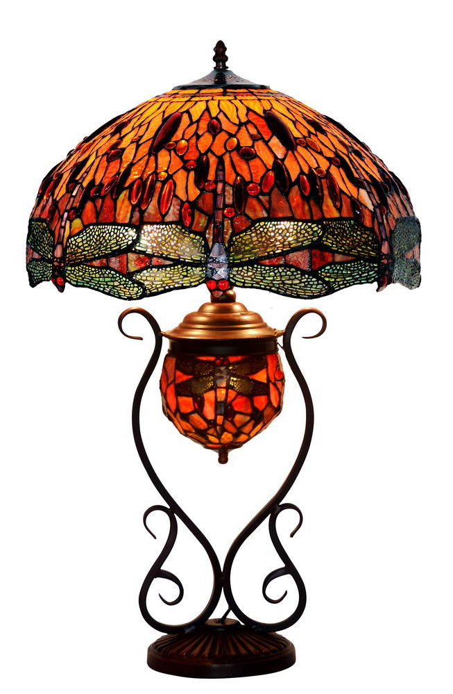 "Limited Edition@Huge 18"" Tiffany Reproduction Double Lights Traditional Dragonfly Tiffany Table Lamp"