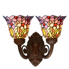 Double lights Orichid Flower Tiffany Wall up lights wall Sconce