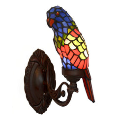 Navy Blue/Red Parrot Wall Lamp Tiffany Style Stained Glass Decorative Wall Sconce