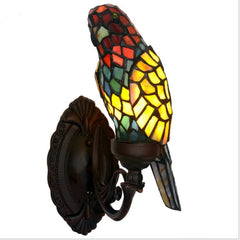 Green/Red Parrot Wall Lamp Tiffany Style Stained Glass Decorative Wall Sconce