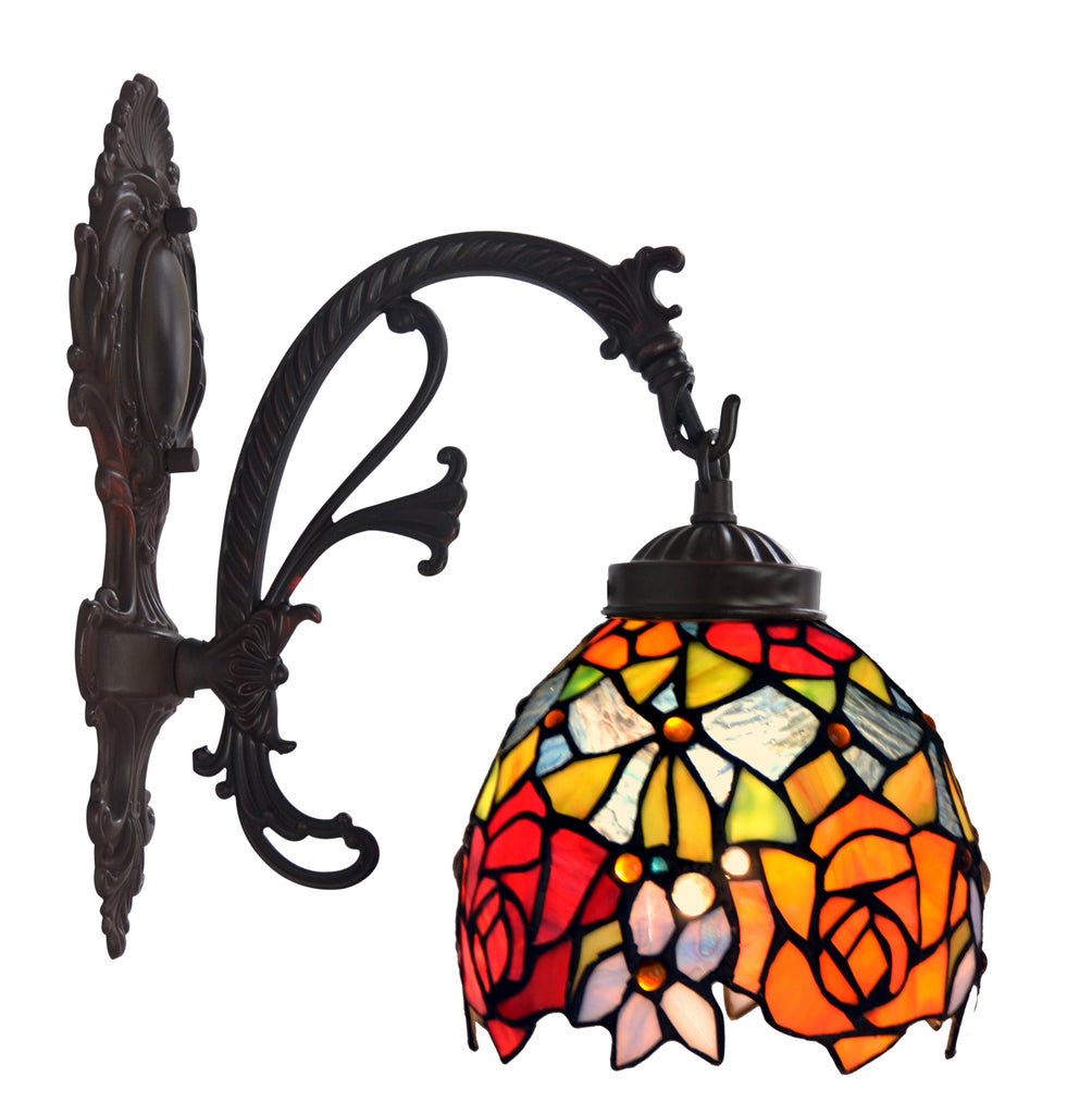 Floral Red Tiffany Wall Lights Down Lights Wall Sconce Joanne Tiffany