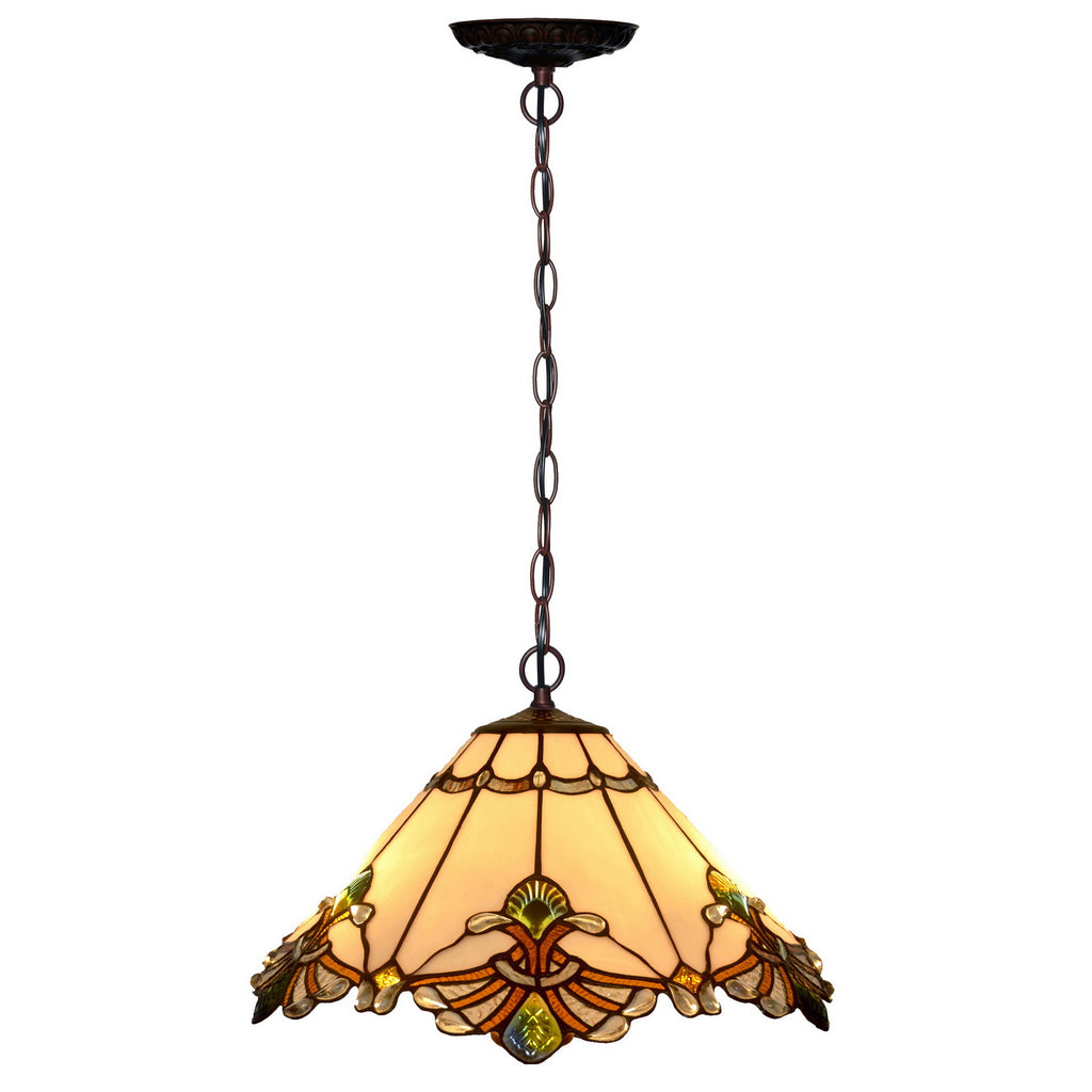 "17"" Jewel Carousel Stained Glass Tiffany Pendant Light"