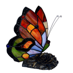 Stunning Red Butterfly  Tiffany Leadlight Stained Glass Art Deco Accent Lamp