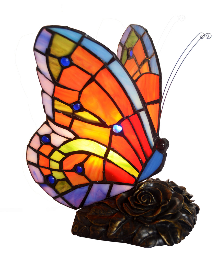 Red Butterfly  Tiffany Leadlight Stained Glass Art Deco Table Lamp