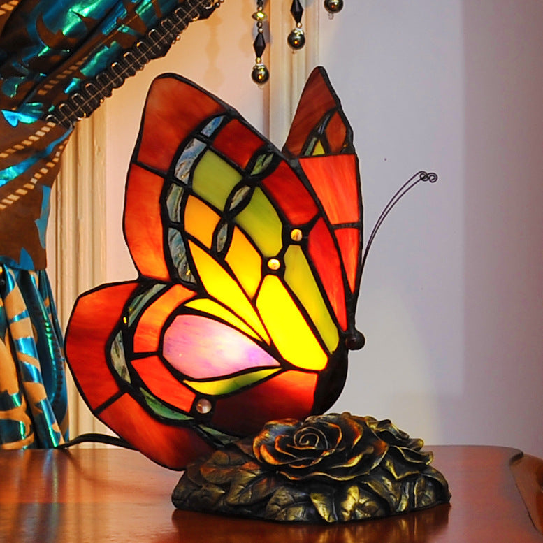 Butterfly  Tiffany Leadlight Stained Glass Art Deco Table Lamp