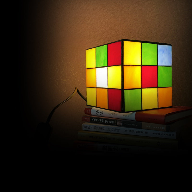 Magic Cube Tiffany Leadlight Art Deco Stained Glass Accent Lamp