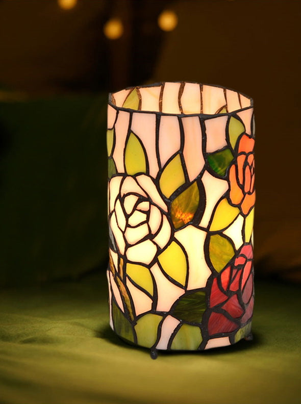 Rose Style Tiffany Stained Glass Night Lamp