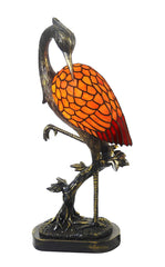 Elegant Bird Crane Tiffany Leadlight Art Deco Stained Glass Accent Lamp