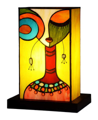 Impression Art Deco Fashion Girl Tiffany Leadlight Art Deco Stained Glass Accent Lamp