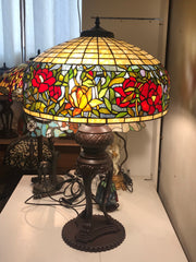 "Huge 20""inches  Reproduction Flower Table Lamp"