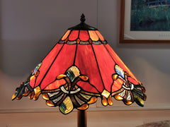 "17"" Red Stained Glass Tiffany Floor Lamp"