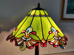 Large Jewel Carousel Green  Stained Glass Tiffany Floor Lamp