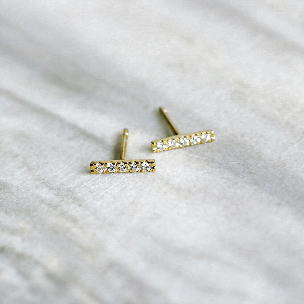 Long Bar Pavé Earrings