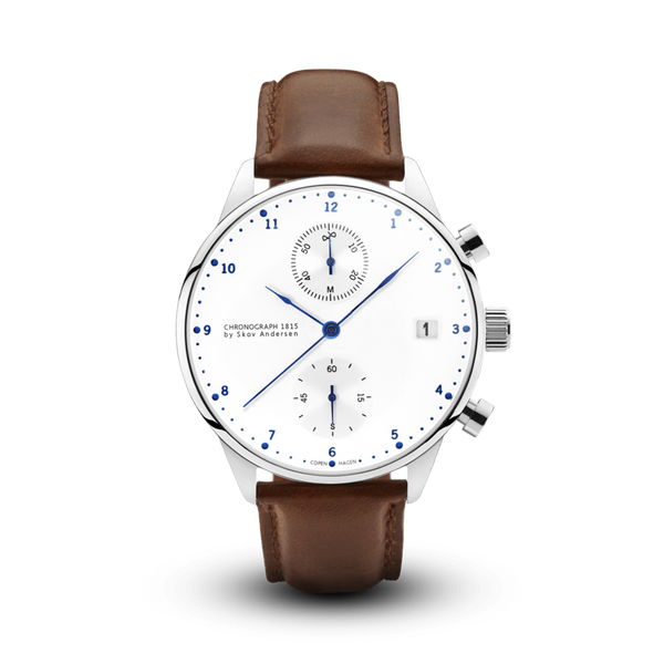 About Vintage-Quartz Chrono 1815 White/Steel/Brown/41mm-Watch-1815WH-S-BR-THE UNIT STORE