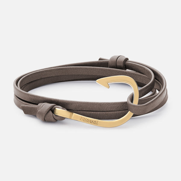 Hook On Leather Bracelet Stone Matte Gold Plated