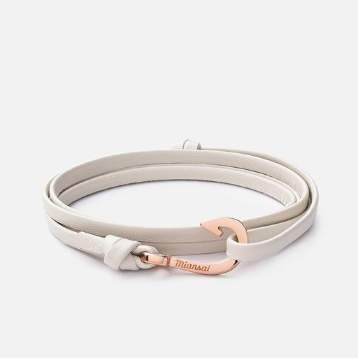 Mini-Hook On Thin Leather Bracelet Creme Rg