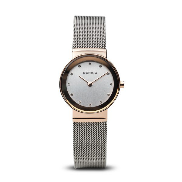 Bering-Mesh RG Case Swarovski Dial SIL Mesh-Watch-10126-066-THE UNIT STORE