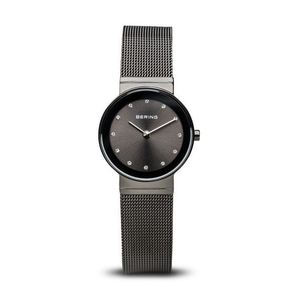 Bering-Classic Black Dial w Swarovski Grey Case Black Mesh-Watch-10126-077-THE UNIT STORE