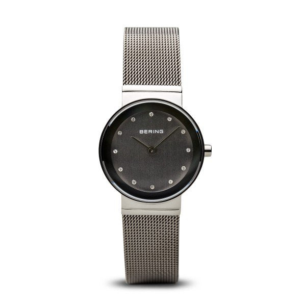 Bering-High Tech Ceramic Small Grey Dial Silver Case Mesh-Watch-10126-309-THE UNIT STORE