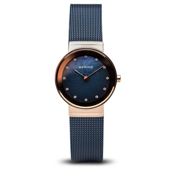 Bering-Classic Blue MOP Dial w Swarovski RG Case Blue Mesh-Watch-10126-367-THE UNIT STORE