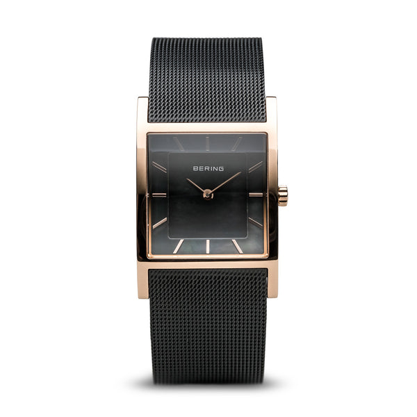 Bering-Classic Square/Black/Rose Gold/Black Mesh/26mm-Watch-10426-166-S-THE UNIT STORE