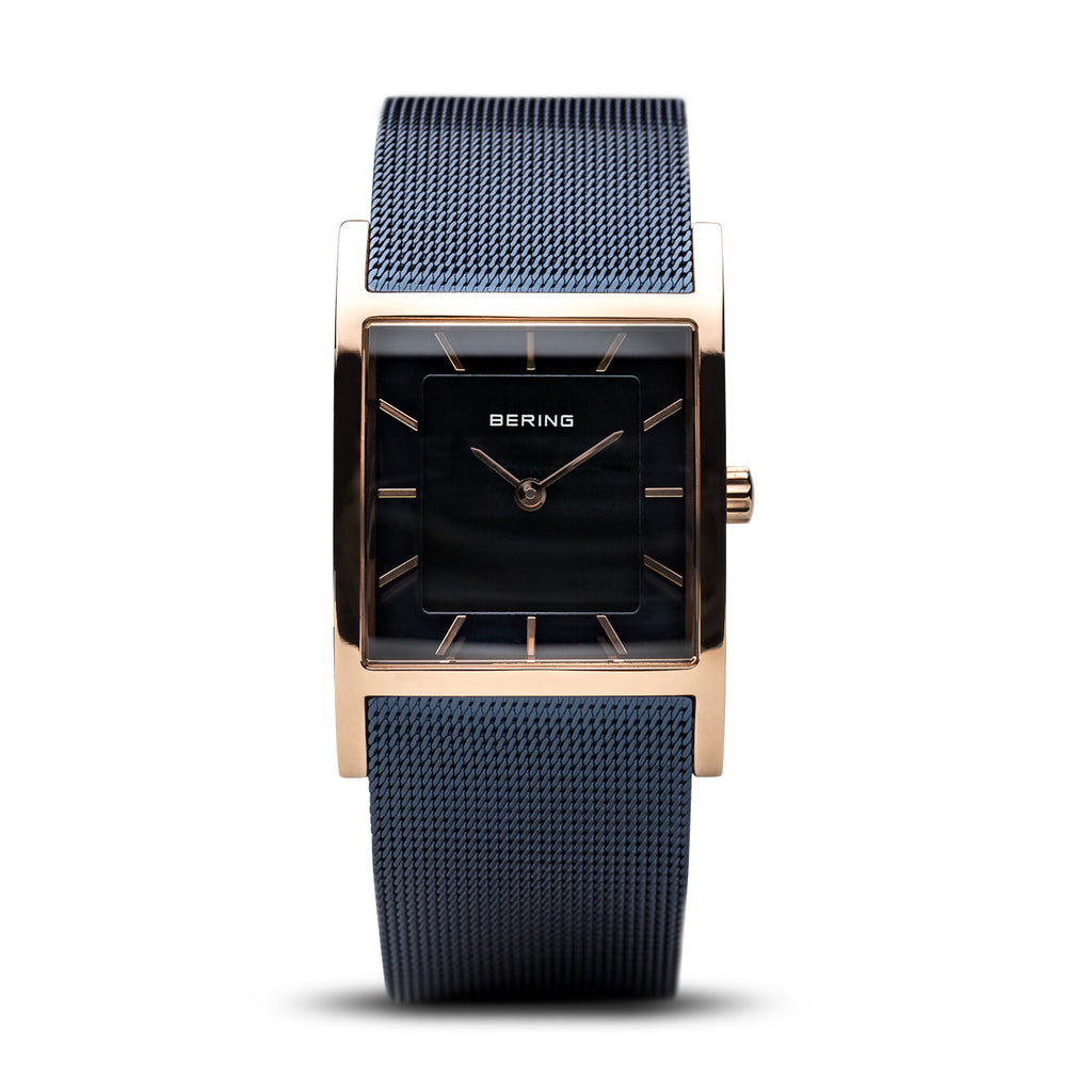 Bering-Classic Square/Black/Rose Gold/Blue Mesh/26mm-Watch-10426-367-S-THE UNIT STORE
