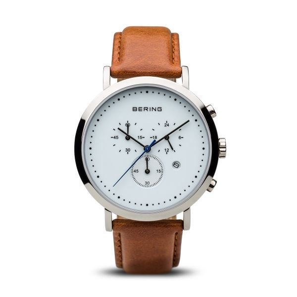 Bering-Classic Chrono White Dial Silver Case Brown Strap-Watch-10540-504-THE UNIT STORE