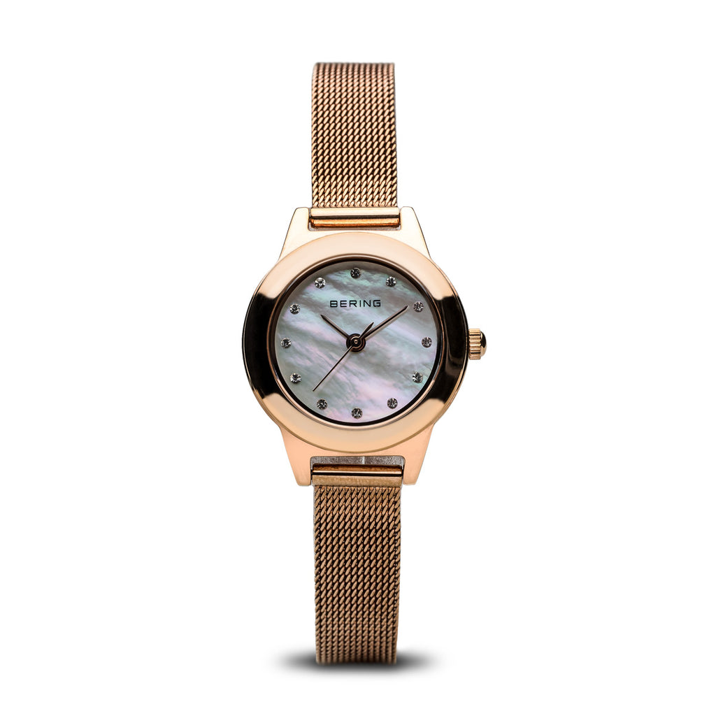 Bering-Classic/White/Rose Gold/Rose Gold Mesh/25mm-Watch-11125-366-THE UNIT STORE