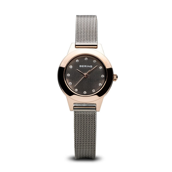 Bering-Classic Black Dial RG Case Silver Mesh-Watch-11125-369-THE UNIT STORE