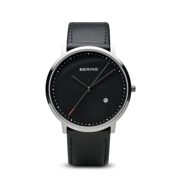 Bering-Classic Rd SIL Case Blk Dial Blk Leather-Watch-11139-402-THE UNIT STORE