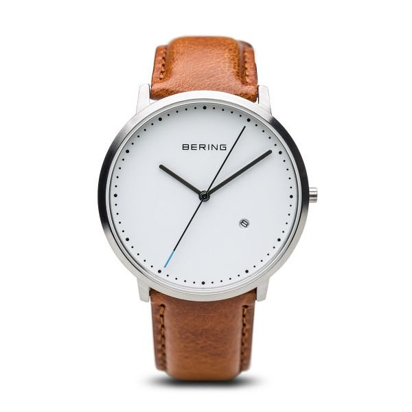 Bering-Classic White Dial Brushed SIL Case Brown Calf Skin-Watch-11139-504-THE UNIT STORE