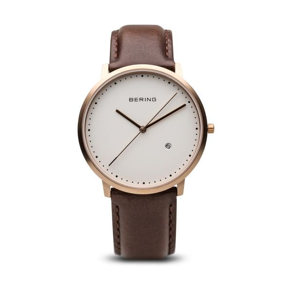 Bering-Classic RG Case White Dial Brown Leather-Watch-11139-564-THE UNIT STORE