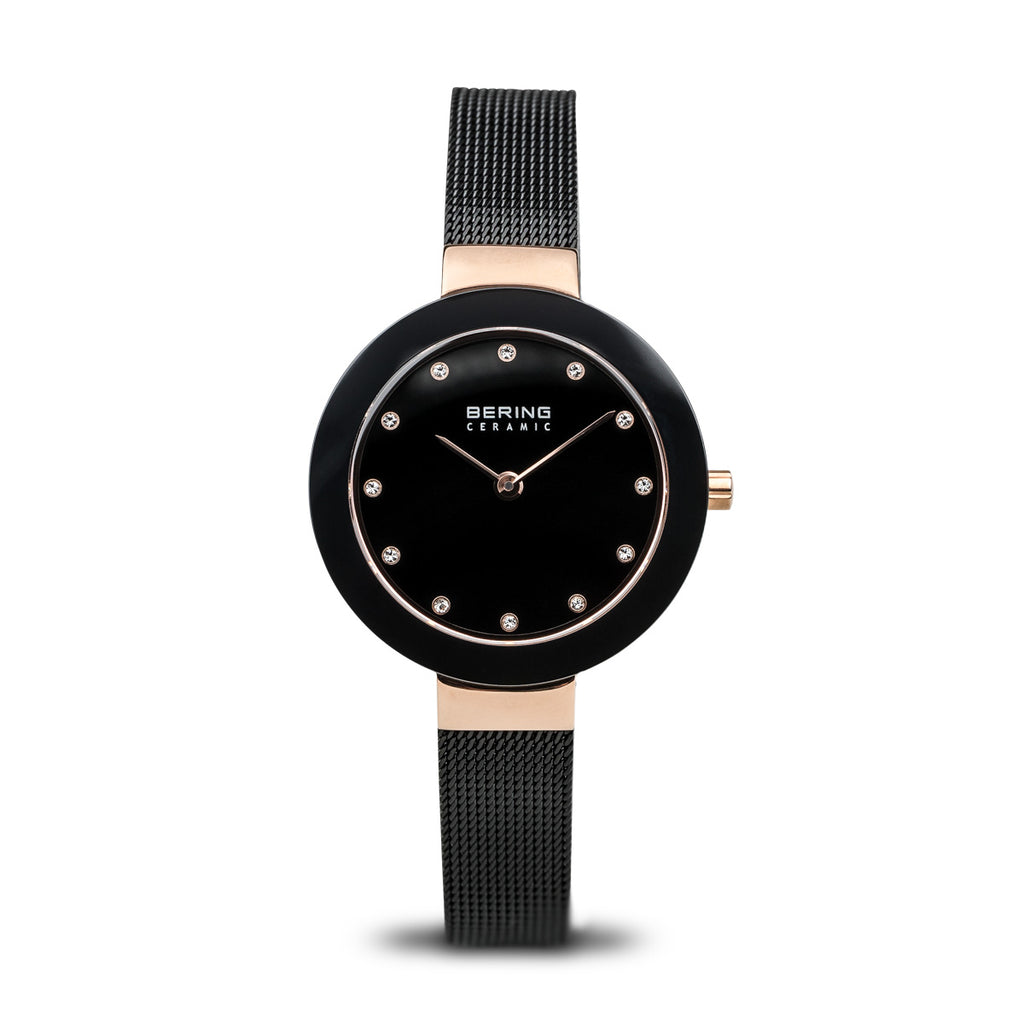 Bering Ceramic/Black/Rose Gold/Black/29mm 11429-166