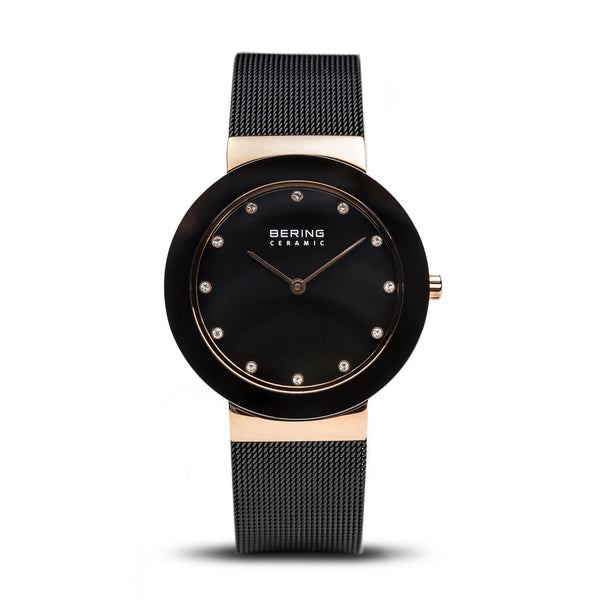 Bering Ceramic Black/Rose Gold/Black/35mm 11435-166