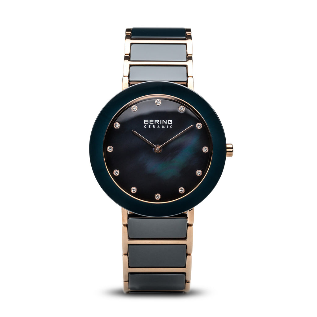 Bering-Ceramic/Blue/Rose Gold/Rose Gold Metal/35mm-Watch-11435-767-THE UNIT STORE