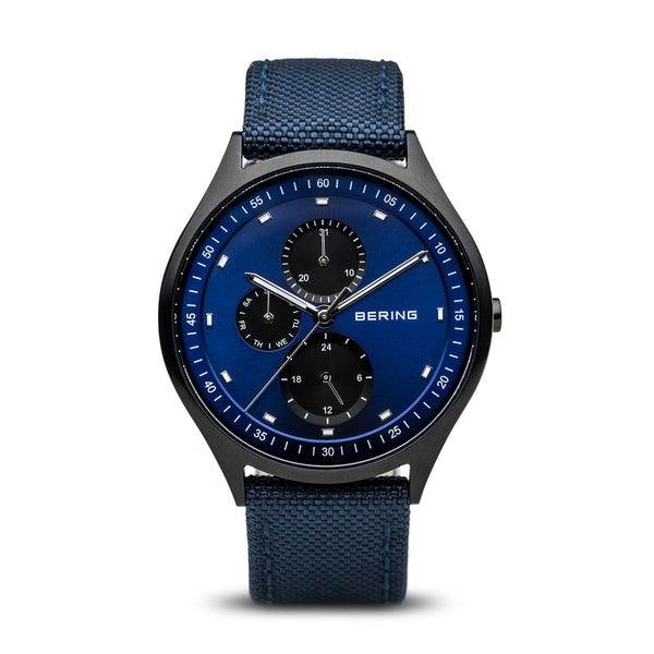 Bering-Titanium Brushed Black Case Blue Dial Nato Strap-Watch-11741-827-THE UNIT STORE