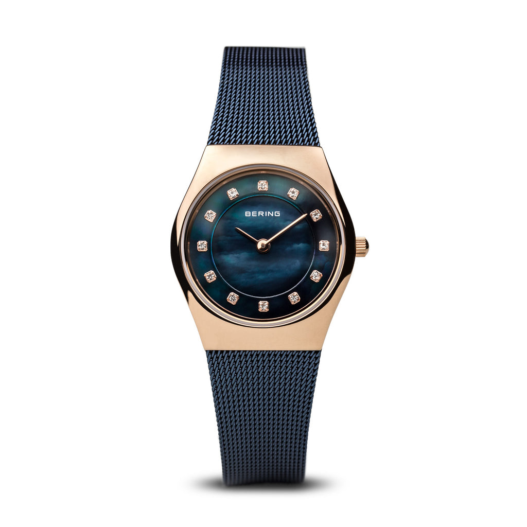 Bering-Classic/Blue/Rose Gold/Blue/27mm-Watch-11927-367-THE UNIT STORE