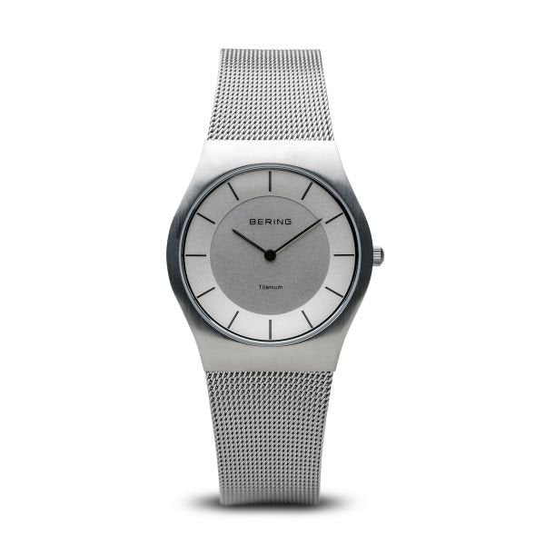 Bering-Classic Rd White Dial Silver Case Silver Mesh-Watch-11930-001-THE UNIT STORE