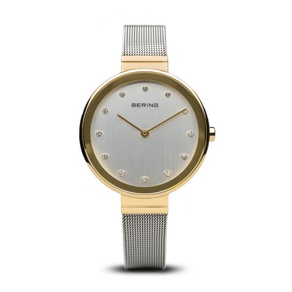Bering-Classic White Swarovski Dial GD Case SIL Mesh-Watch-12034-010-THE UNIT STORE