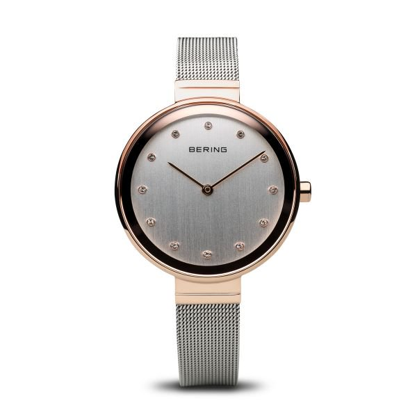 Bering-Classic Silver Dial w Swarovski RG Case Silver Mesh-Watch-12034-064-THE UNIT STORE