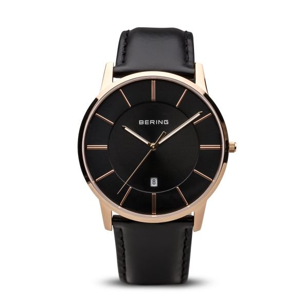 Bering-Classic Black Dial RG Case Black Leather-Watch-13139-466-THE UNIT STORE