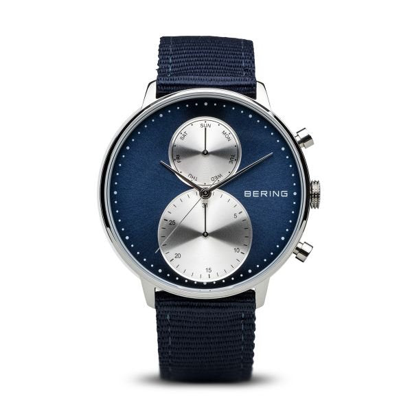 Bering-Classic Blue Dial silver shiny case Blue nato strap-Watch-13242-507-THE UNIT STORE