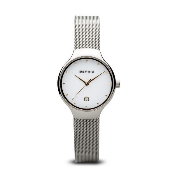 Bering-Classic White dial Date Curved Glass Silver Case Mesh-Watch-13326-001-THE UNIT STORE