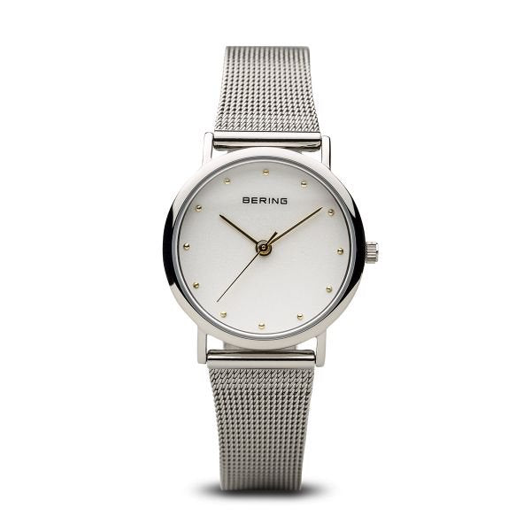 Bering-Classic SIL & GD Dial Swarovski SIL Case/Mesh-Watch-13426-001-THE UNIT STORE