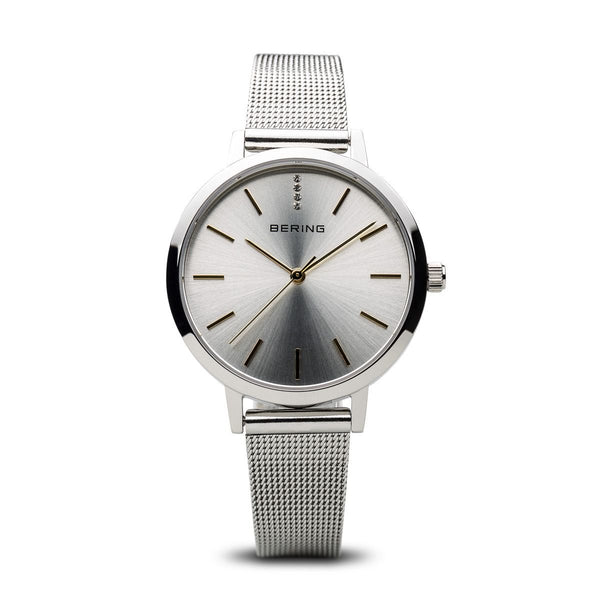 Bering-Classic Sapphire Crystal SIL Sunray Dial SIL Mesh-Watch-13434-001-THE UNIT STORE
