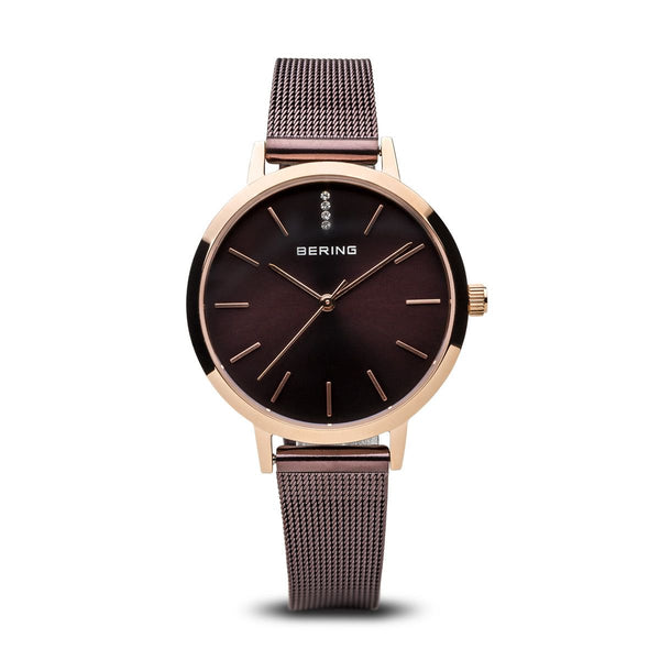 Bering-Classic Sapphire Crystal Brown Sunray Dial Brown Mesh-Watch-13434-265-THE UNIT STORE