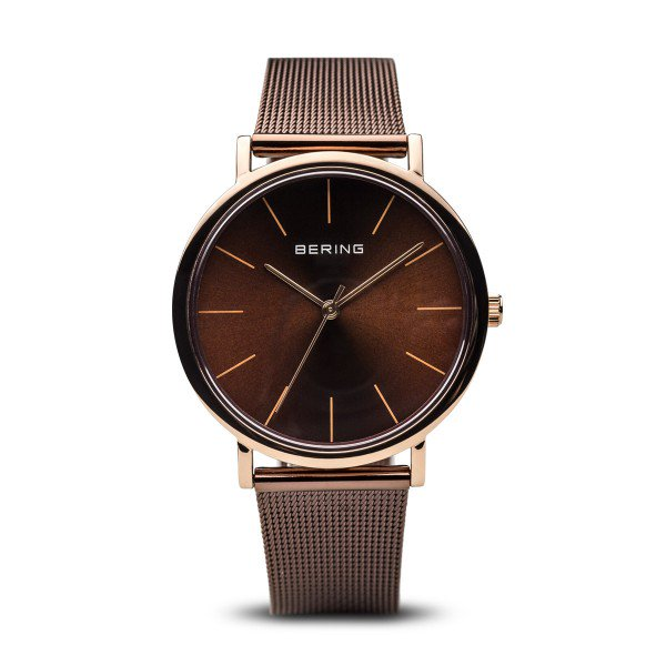 Bering-Classic Shiny RG case Brown Dial brown Milanese-Watch-13436-265-THE UNIT STORE
