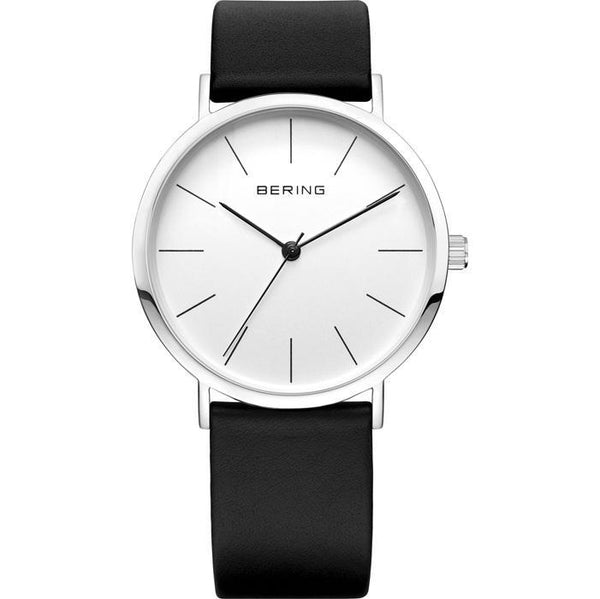 Bering-Classic Small White Dial Silver Case Black Strap-Watch-13436-404-THE UNIT STORE
